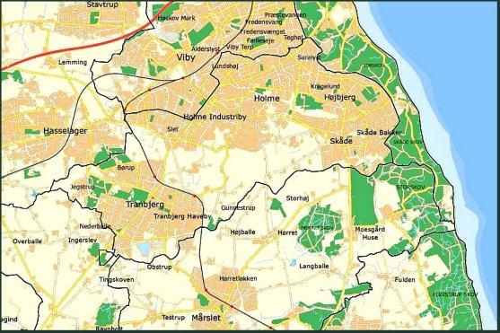 Kortet viser kommunegrænsen indtil den 1. april 1970, da Holme-Tranbjerg kommune blev indlemmet i Aarhus Kommune ved Kommunalreformen. Kilde DigDag.dk